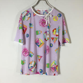 レオナール(LEONARD)の美品 レオナールスポーツ 半袖Tシャツ 総柄 M ストライプ パープル(Tシャツ(半袖/袖なし))