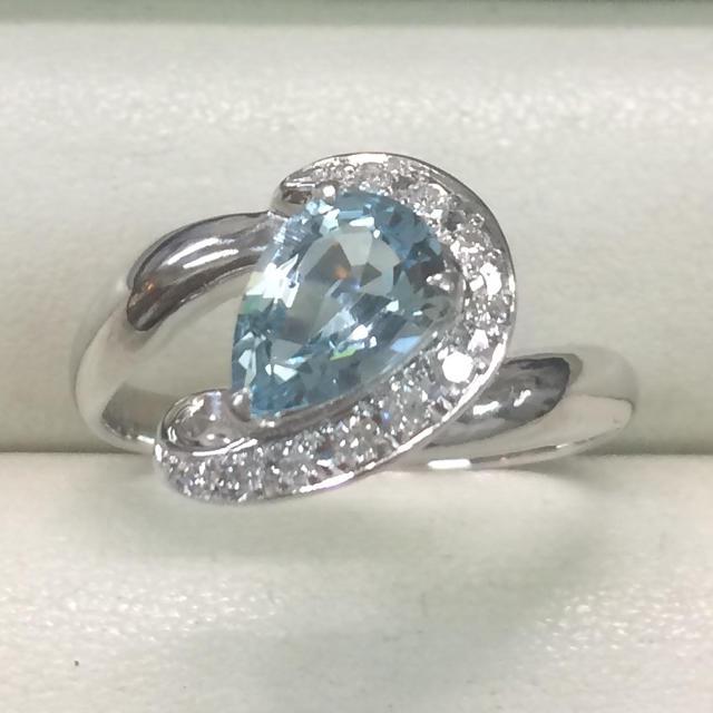 ★大きめの20号★プラチナPt900アクアマリン&ダイヤモンドリング1.14ct レディースのアクセサリー(リング(指輪))の商品写真