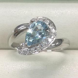 ★大きめの20号★プラチナPt900アクアマリン&ダイヤモンドリング1.14ct(リング(指輪))