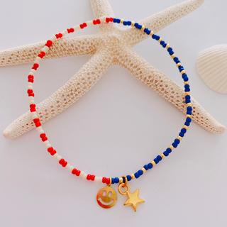 星条旗カラー アンクレット スマイル&スターチャーム(アンクレット)