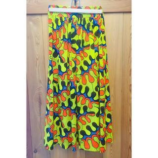 アフリカ布 ギャザースカート イエロー オレンジ ハンドメイド バオバブ神戸(ロングスカート)