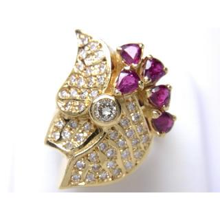 お値引き不可 K18 天然 ルビー ダイヤモンド リング(リング(指輪))