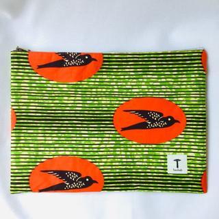 緑鳥 クラッチバッグ アフリカ布 ハンドメイド バオバブ神戸(その他)