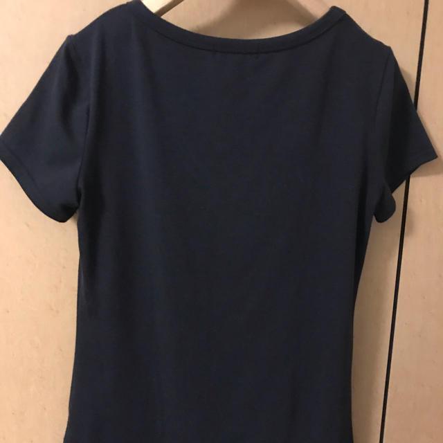 BARNEYS NEW YORK(バーニーズニューヨーク)の美品♪バーニーズニューヨーク リボンとスパンコール付きバレエシューズ黒TシャツM レディースのトップス(Tシャツ(半袖/袖なし))の商品写真