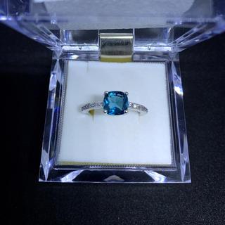 高品質指輪-スカイブルーシルバー色レディースリング-(リング(指輪))