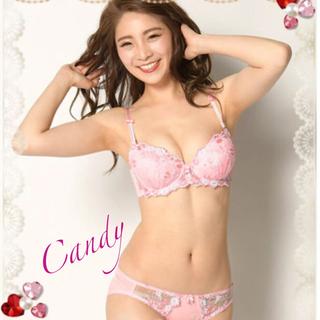 D75❤️美、谷間❣️愛されお花刺繍、透け感❤️ブラジャーショーツ(ブラ&ショーツセット)