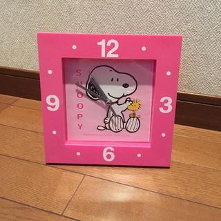 スヌーピー(SNOOPY)のスヌーピー ピンクの時計(置時計)