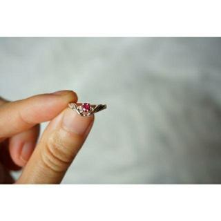 ジュエリーツツミ(JEWELRY TSUTSUMI)の美品☆ツツミ ルビー×ダイヤモンドのピンキーリング 5号 K14WG(リング(指輪))