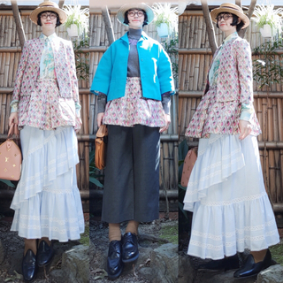 ミュウミュウ(miumiu)のイタリア製 ミュウミュウ 総柄ピンクラメジャガードノーカラージャケットスカート(ノーカラージャケット)