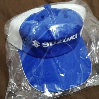 スズキ(スズキ)のスズキ メッシュキャップ 青白 新品未使用 SUZUKI(車外アクセサリ)