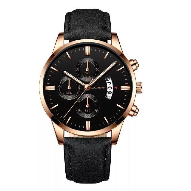 【新品・送料込み】 CUENA メンズ クオーツ腕時計 ブラック ゴールドの通販 by 千早's shop|ラクマ
