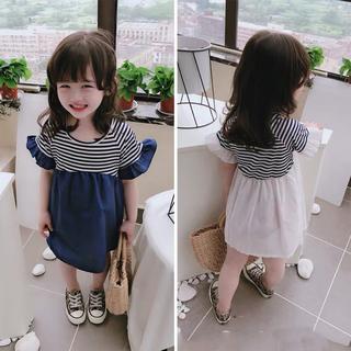 【100㎝-130㎝】韓国子供服 半袖 ボーダー切替ワンピース ネイビー(ワンピース)