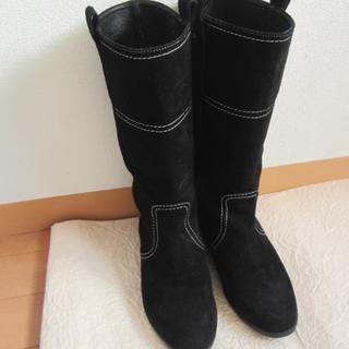 マリーファム(Marie femme)のMarie femme♪黒スウェード♪ミドルブーツ♪23cm♪used美品(ブーツ)