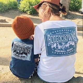 ロデオクラウンズワイドボウル(RODEO CROWNS WIDE BOWL)のイオン福岡限定☆RODEO CROWNS✩キッズデニムパッチポケットTシャツ(Tシャツ/カットソー)