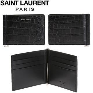 サンローラン(Saint Laurent)の3 SAINT LAURENT PARIS クロコ型押しカードケース(折り財布)