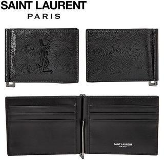 サンローラン(Saint Laurent)の4 SAINT LAURENT PARIS ブラック パテントレザー財布(折り財布)