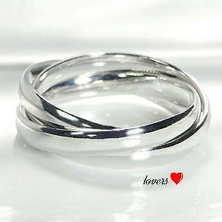 送料無料 14号 シルバーサージカルステンレス三連リング 指輪 トリニティリング(リング(指輪))