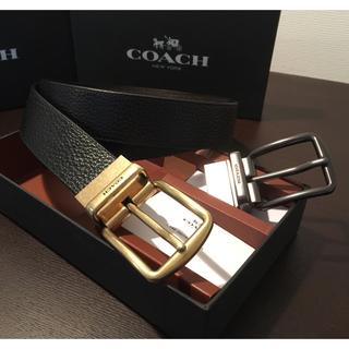 コーチ(COACH)の38,560円 新品COACHリバーシブルワイドハーネスペブルドレザーベルト(ベルト)