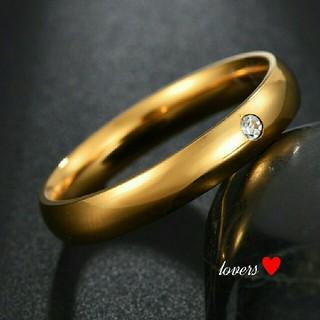 送料無料 11号 ゴールドサージカルステンレススーパーCZシンプル甲丸リング指輪(リング(指輪))