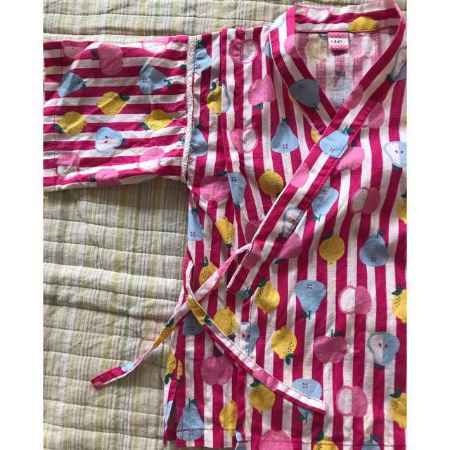 ampersand(アンパサンド)のワールドキッズコレクション 120サイズ 甚平 上下 ピンク色 フルーツ柄 キッズ/ベビー/マタニティのキッズ服 女の子用(90cm~)(甚平/浴衣)の商品写真