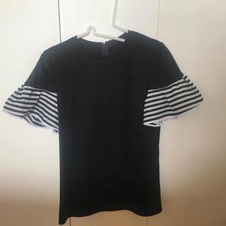 バーニーズニューヨーク(BARNEYS NEW YORK)のborders at balcony ギャザースリーブTEE ブラック(Tシャツ(半袖/袖なし))