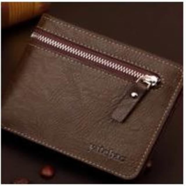 レザー調 財布 チャック付き こげ茶色 wa_f003の通販 by まゆみ's shop|ラクマ
