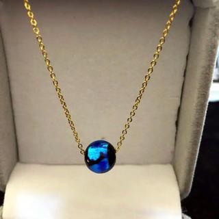 蓄光 ステンレスネックレス ホタルガラス ステンレス ブルー(ネックレス)