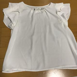 シマムラ(しまむら)のビジュー付き トップス  試着のみ(カットソー(半袖/袖なし))