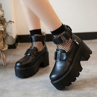 厚底シューズ  ロリータ   可愛  リングバックル 靴(ブーツ)