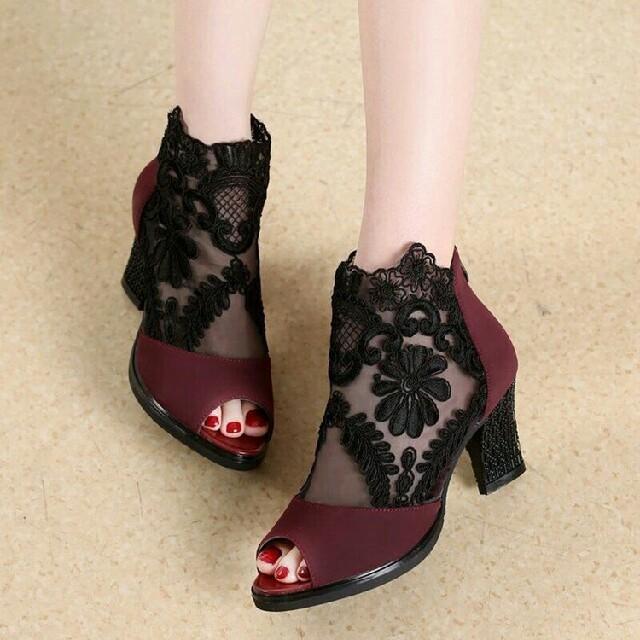 レッド トレンド   美脚  メッシュレース ハイヒール サンダル  レディースの靴/シューズ(サンダル)の商品写真