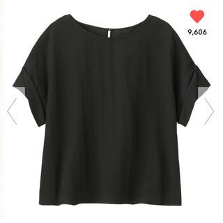 ジーユー(GU)のGU/ジーユー ロールアップスリーブブラウス 半袖 ブラック 黒 S(シャツ/ブラウス(半袖/袖なし))