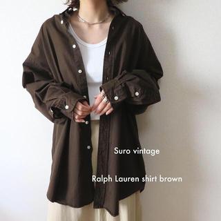ポロラルフローレン(POLO RALPH LAUREN)の90s ラルフローレン 刺繍 ビッグシャツ ブラウン 古着 レディース(シャツ/ブラウス(長袖/七分))