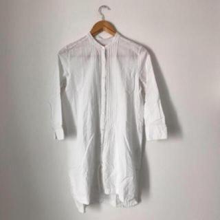 ビームス(BEAMS)のBEAMS リネン混 シャツワンピース 白 羽織 ガウン 七分袖(ひざ丈ワンピース)