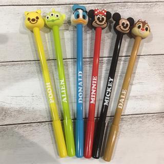 可愛い♡ディズニー ボールペン 6本セット ディズニーマスコットペン(キャラクターグッズ)