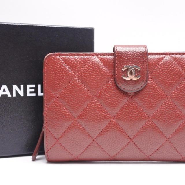 CHANEL - CHANEL シャネル キャビアスキン コンパクト 財布 レザー ワインレッドの通販 by ごとく's shop|シャネルならラクマ