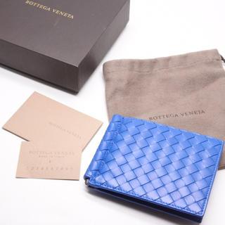 on sale 68c5f 0c42e ボッテガヴェネタ マネークリップ ブルー 二つ折り 財布 箱付き 定価56160