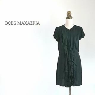 ビーシービージーマックスアズリア(BCBGMAXAZRIA)のBCBG MAXAZRIA 半袖 シャツワンピース ブラック(ひざ丈ワンピース)