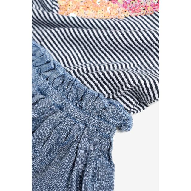 NEXT(ネクスト)の【新品】next ブルー スパンコールドレス(オールド) キッズ/ベビー/マタニティのキッズ服 女の子用(90cm~)(ワンピース)の商品写真