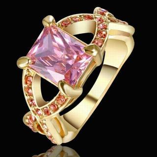 ゴールド ピンク 指輪 可愛い 大人 おすすめ 15.5号 Ac_rg008(リング(指輪))