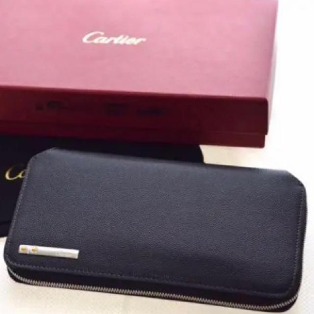 Cartier - ★カルティエ★サントス★ラウンドファスナー長財布★黒★ブラック★レザーの通販 by エカコ's shop|カルティエならラクマ