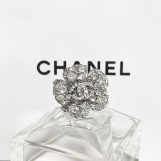 シャネル(CHANEL)の正規品 シャネル 指輪 カメリア 花 ラインストーン 銀 ココマーク リング 2(リング(指輪))