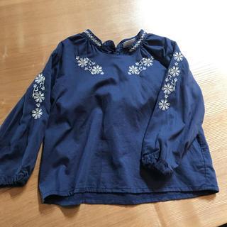 BREEZE - BREEZE 長袖刺繍ブラウス 紺色 100センチ