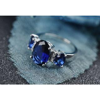 リング レディース ブルー 宝石 美品 大人 シック 11号 Ac_rg005(リング(指輪))