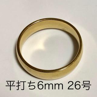 リング 指輪 平打ち 金色(18金ではございません) 約26号 幅6mm (リング(指輪))