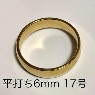 リング 指輪 平打ち 金色(18金ではございません) 約17号 幅6mm(リング(指輪))