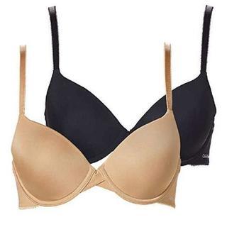カルバンクライン(Calvin Klein)の2枚セット D80 ★ カルバンクライン Tシャツブラ 36D 黒 ベージュ(ブラ)