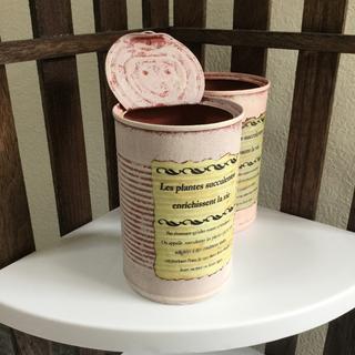 リメイク缶(ピンク・アンティーク風、フタ付き、底穴なし)〜多肉植物の寄植えに〜(その他)
