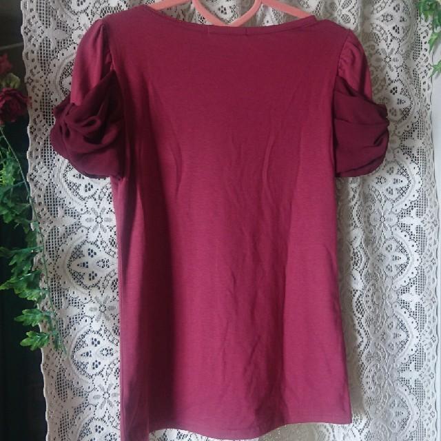 袖リボン アッシュピンク Tシャツ レディースのトップス(Tシャツ(半袖/袖なし))の商品写真