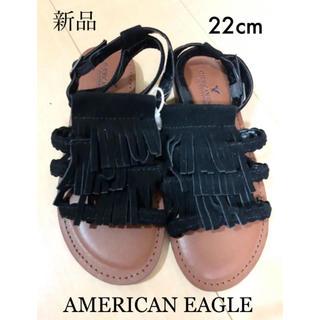アメリカンイーグル(American Eagle)のAMERICANEAGLE新品タグ付き 黒サンダル 定価4490円(サンダル)