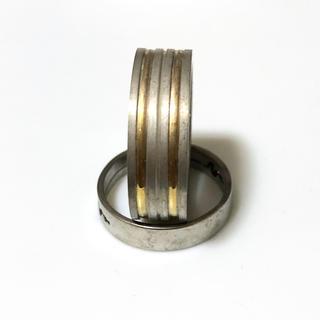 同時購入で300円 ステンレス指輪 ダブル ゴールド ライン(リング(指輪))